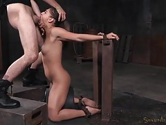 Skinny bound girl gags on a dick in her throat tubes