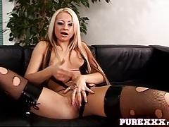 Chick in ripped fishnet stockings fucks a toy tubes