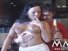 Babe soaked in champagne and fucked in her cunt tubes