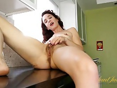 Skinny mommy shows off her pussy tubes