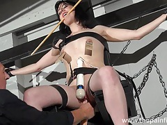 Enslaved honesty cabellero nipple clamped tubes
