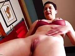 Tight milf with amazing tits rubs her sexy cunt tubes