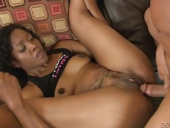 Dirty black girl takes a big cock up the asshole tubes