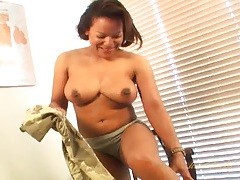 Milf in camouflage strips and masturbates solo tubes