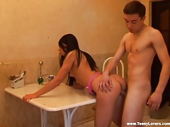 Bent over the kitchen table for teen fucking tubes