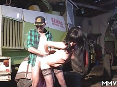 Farmer fucks a hottie in black stockings tubes