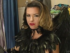 Pornstar in angel wings gets her makeup done tubes