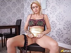 Slut in a shiny skirt gives you joi tubes