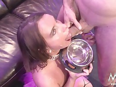 German gangbang slut collects cumshots tubes