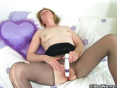British milfs clare and april masturbate in nylon tights tubes