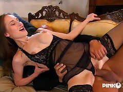 Sheer black lingerie on a leggy anal beauty tubes