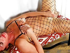Sexy fishnet body stocking on a hot mom tubes