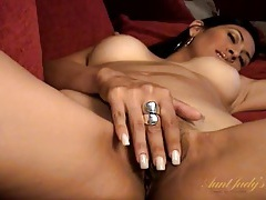 Sensual mommy pussy drips juices as she plays tubes