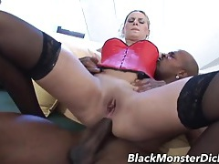 Tight red corset on an amazing anal slut tubes