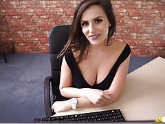 Secretary downblouse with stunning big boobs tubes