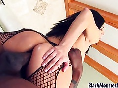 Sativa rose butt fucked in black fishnet lingerie tubes