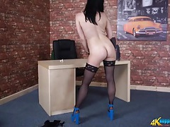 Skintight work clothes and stockings on a stripping hottie tubes