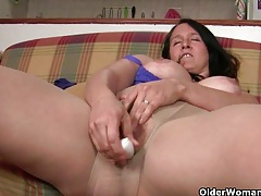 British milfs becky and suzanne love masturbating in sheer pantyhose tubes