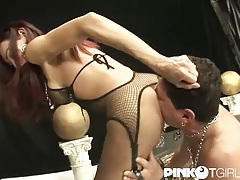 Tgirl lubes his butt and fucks it hard tubes