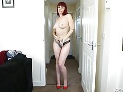 Skintight dress on a smoking hot redheaded girl tubes