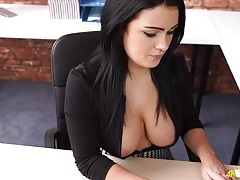Secretary in a blouse lets her big tits come out tubes