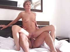 Skinny old lady rides a hard dick tubes