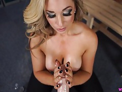 Pov titjob makes the dildo cum on her tits tubes