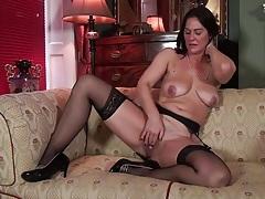 Classy milf in her sexy stockings masturbates tubes