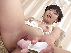 Toys and fingers turn on her japanese cunt tubes