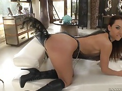 Slut with a feather up her ass sucks a dick tubes