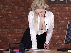 Natural british tits teased in a white blouse tubes