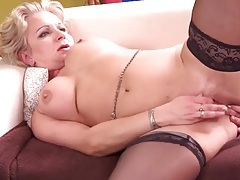 Heels and stockings on a slutty mommy tubes