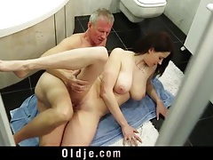 Big tits young lady loves old man dick tubes