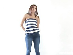 Casting interview with a cute girl in jeans tubes