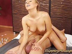 Slippery nuru massage with hot blonde babe tubes