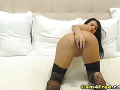 Skinny cam model in stockings has solo toy sex tubes