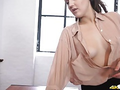 Sexy braless teacher flashes her tits in class tubes