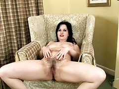 Hairy cunt and ass on a cute milf brunette tubes