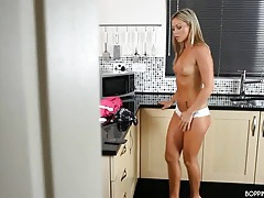 Beauty stripping and dancing as she cleans her kitchen tubes