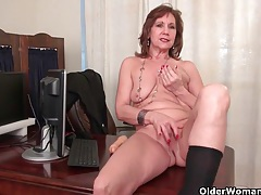 Office grannies amanda and penny strip off and play tubes
